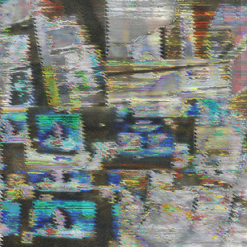 a glitchy collage of heavily distorted newspaper stands, magazines, and rows of TVs with news reporting going on them.
